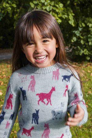 Kids merino jumper with pink alpaca print