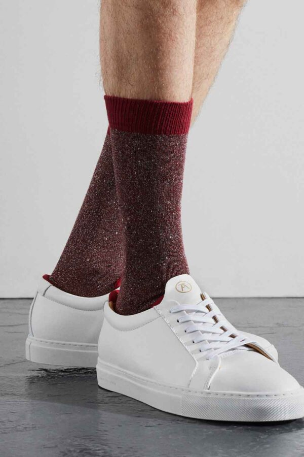 Sparkly Red Silk Tweed Socks