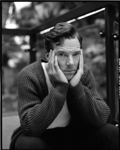 BENEDICT CUMBERBATCH in wool fishermans rib cardigan