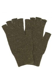 Khaki fingerless wool gloves made in Britain