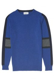 unisex lambswool intarsia stripe jumper bright blue