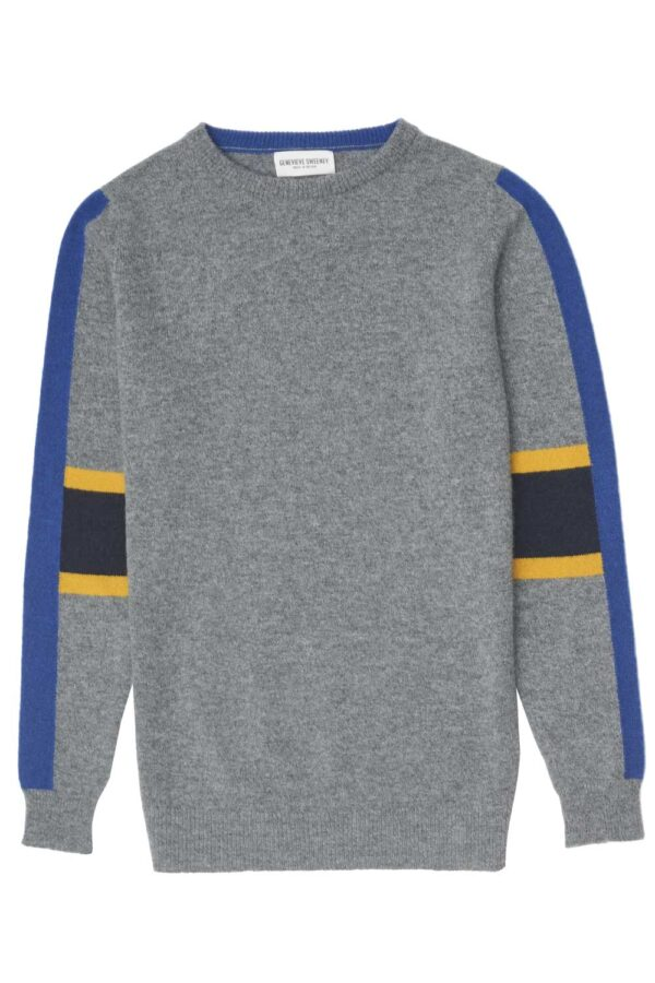 unisex lambswool grey sweater with vertical intarsia stripe