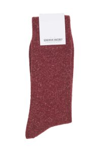 Burgundy cosy wool mens socks made in Britain