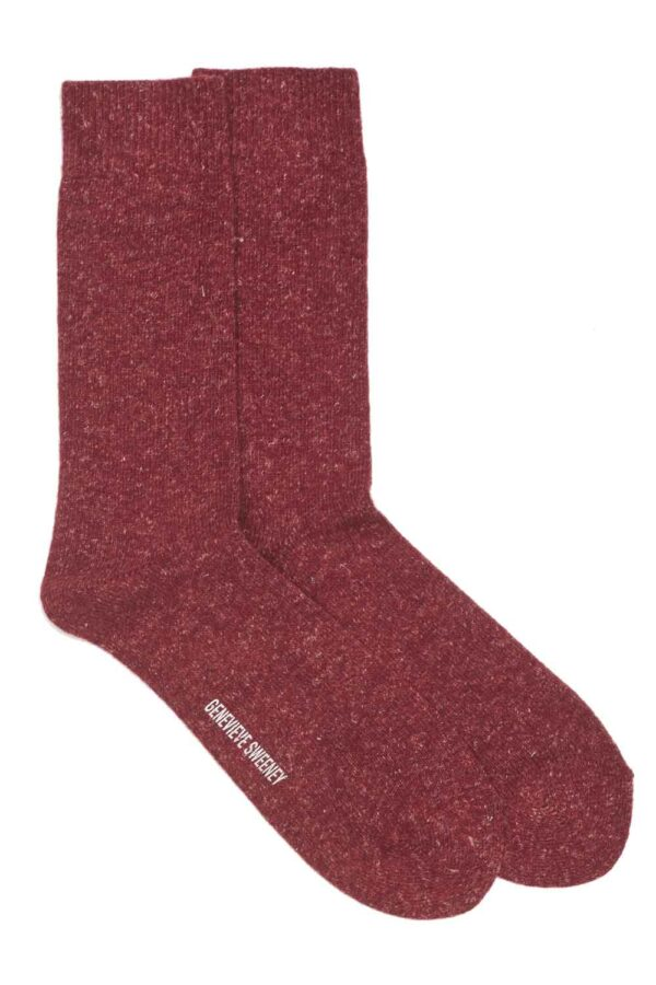 Burgundy wool mens socks