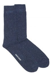Navy cosy wool linen socks made in Britain