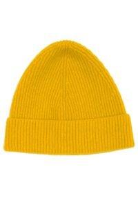 Mustard Yellow Lambswool Rib Beanie