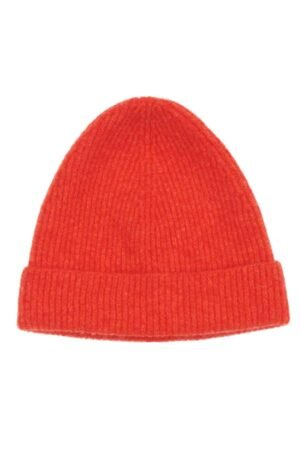 Bright Orange Lambswool Beanie