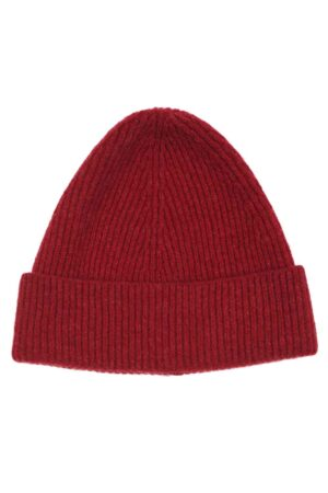 Red Lambswool Beanie Made in Britain