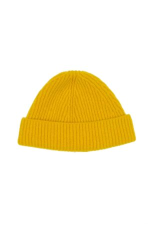 kids Mustard Yellow Lambswool Rib Beanie