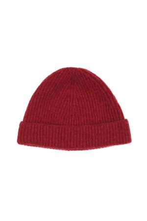 Kids Red Lambswool Beanie Made in Britain