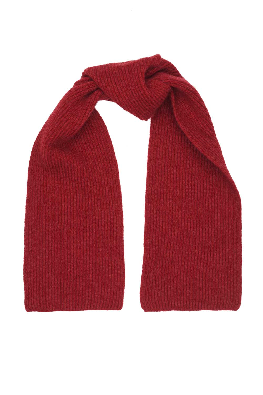 Red Lambswool Rib Scarf