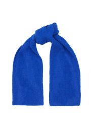 Bright Blue Lambswool Rib Scarf