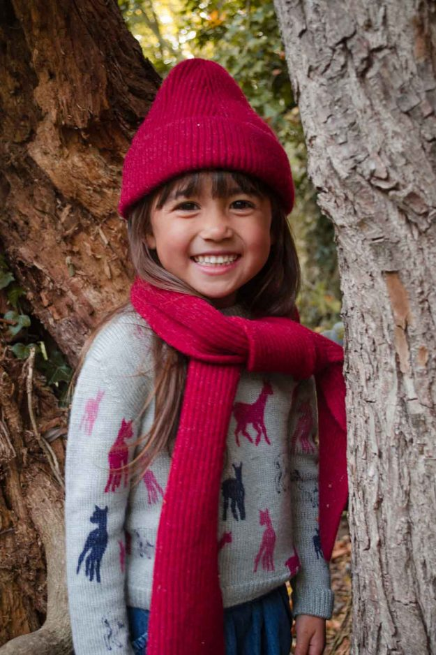 Red Lambswool Kids Scarf and Beanie