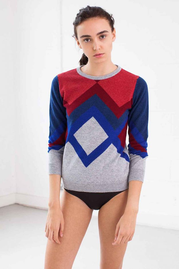 Womens Hand Intarsia Cashmere Jumper