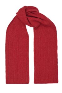 Red Lambswool Rib Scarf Adults