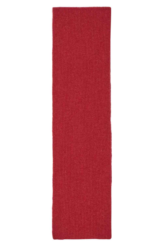 Red Lambswool Rib Scarf Long