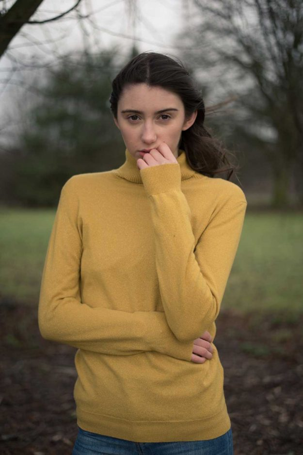 Yellow Roll neck sweater in metallic merino cashmere spring knit
