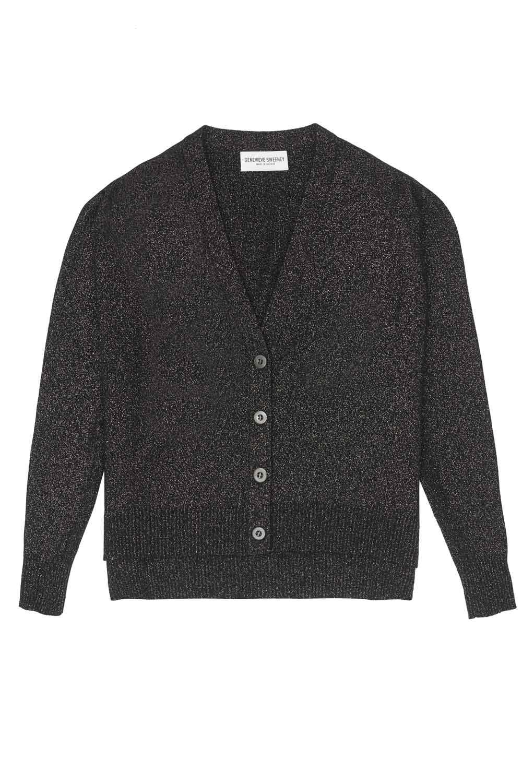 Metallic Black Cardigan Merino Cashmere