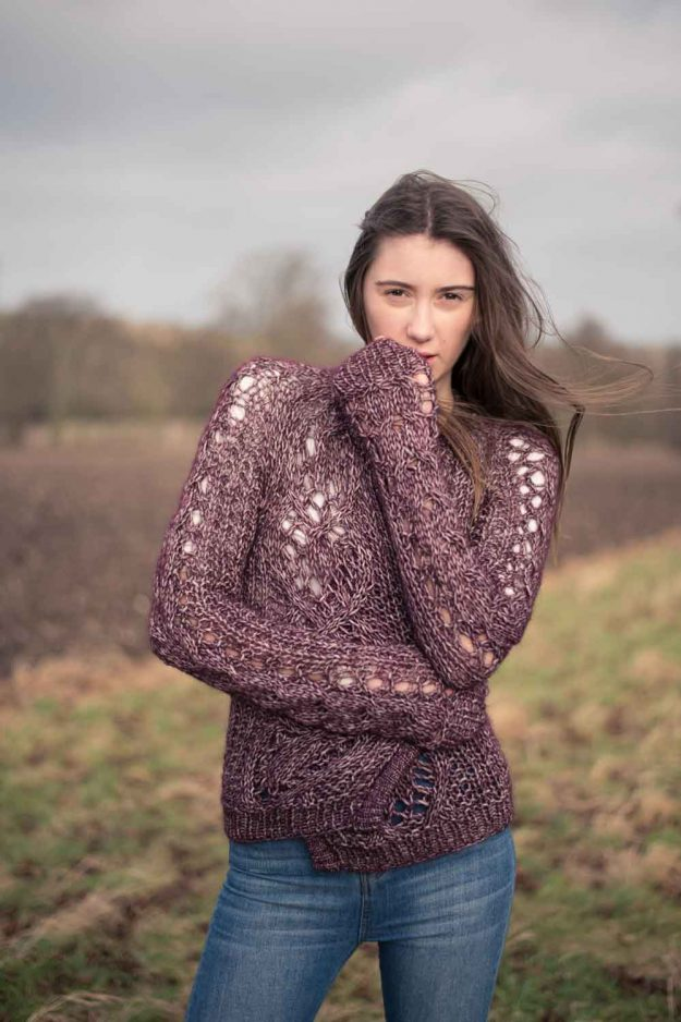 Chunky hand knitted cardigan alpaca spring knitwear
