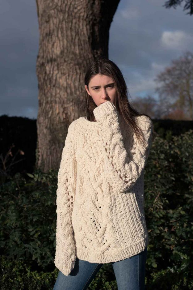 Hand Knit Chunky Cable Spring Sweater