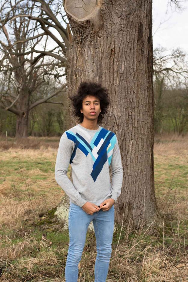 Mens Blue Cashmere Geometric Sweater