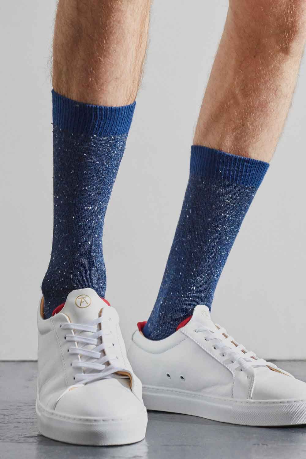 mens cotton blue socks with silk tweed