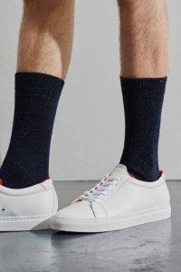 mens navy wool silk tweed socks