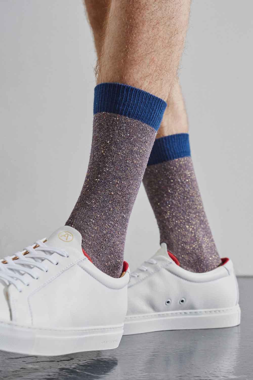 purple cotton socks with contrast trims