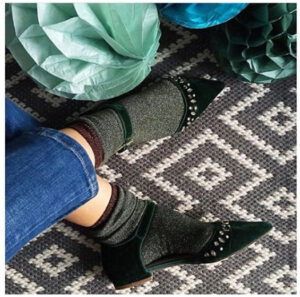 green lurex socks made in britain