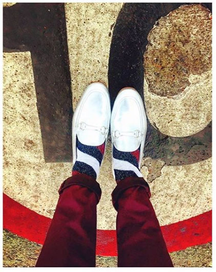 metallic silver loafers and stripes socks