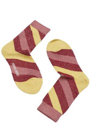 Yellow Pink Sparkly striped lurex socks