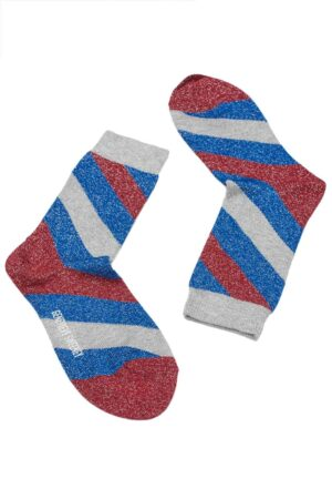 bright blue lurex stripy socks