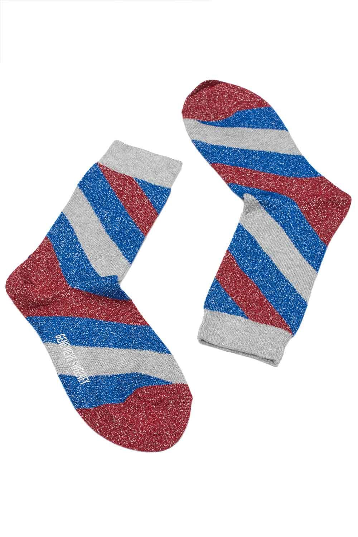 bright blue lurex stripy socks