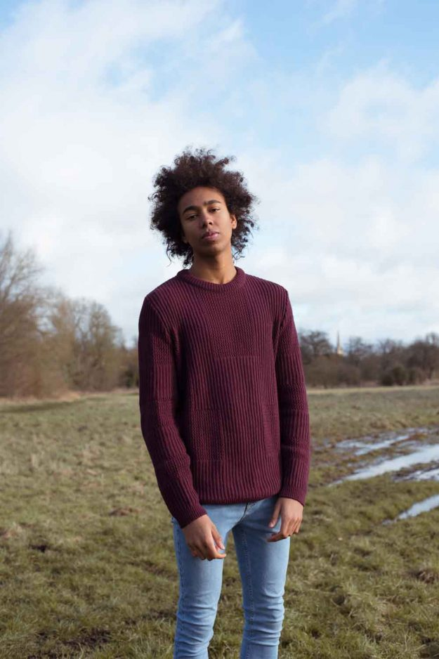 Mens Burgundy Wool Cashmere Textured Jumper