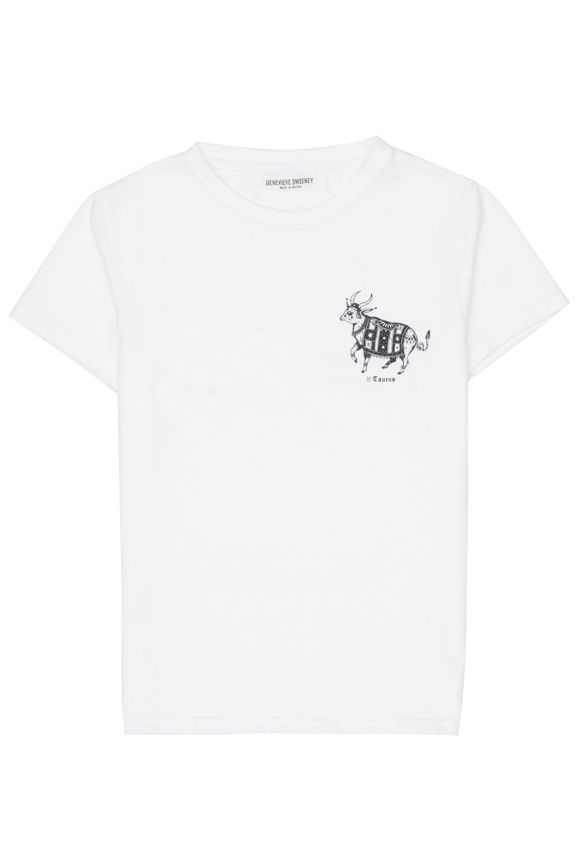 hand drawn zodiac white cotton tshirt genevieve sweeney