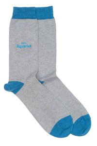 Zodiac Grey Cotton Socks Made in Britain Aquarius