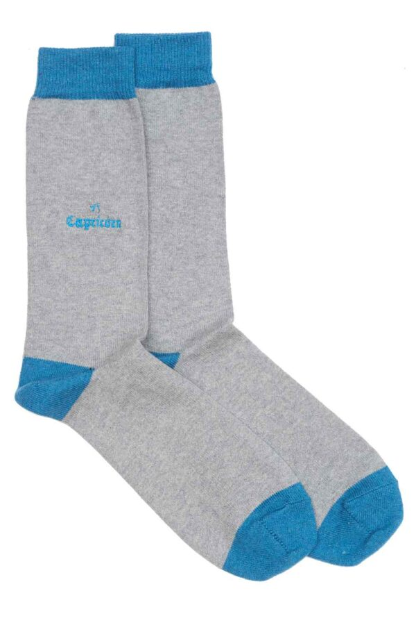 Zodiac Grey Cotton Socks Made in Britain Capricorn