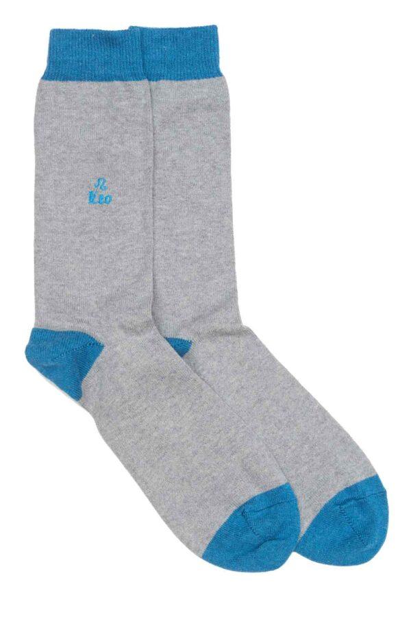 Zodiac Grey Cotton Socks Made in Britain Leo