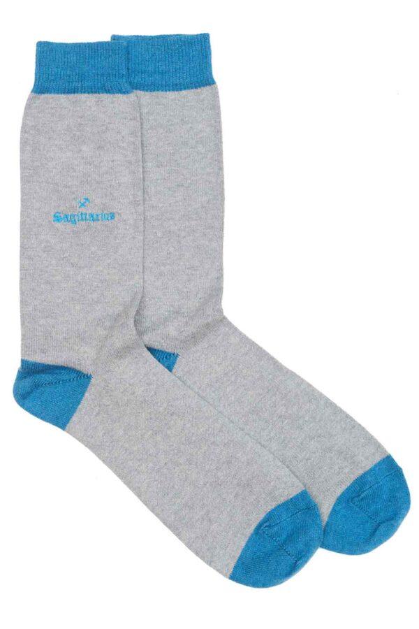Zodiac Grey Cotton Socks Made in Britain Sagittarius