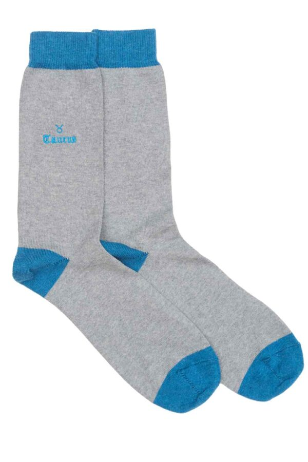 Zodiac Grey Cotton Socks Made in Britain Taurus