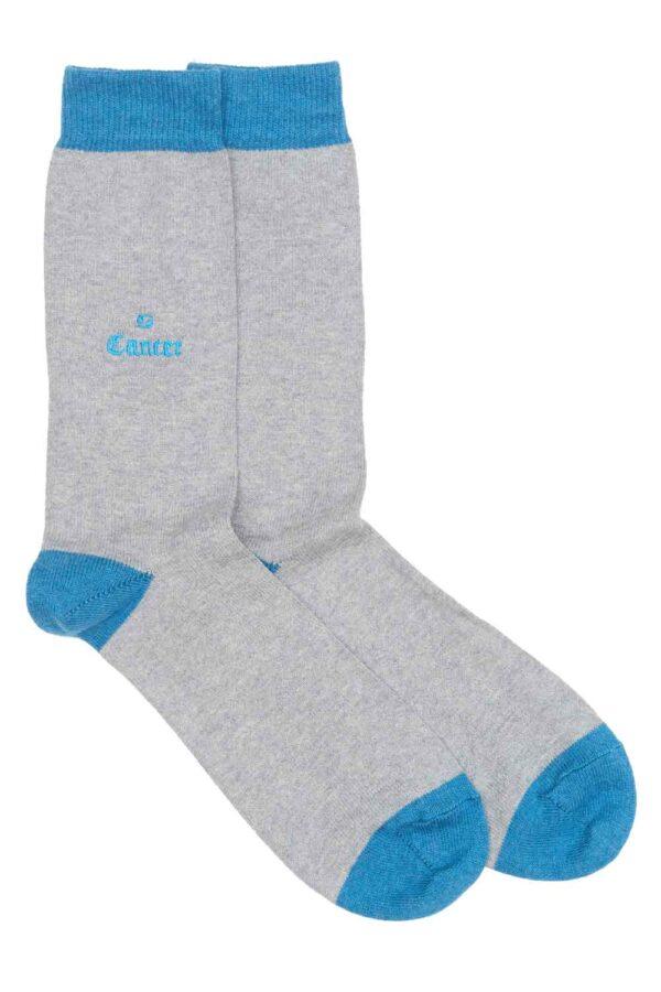 Zodiac Grey Cotton Socks Made in Britain Cancer