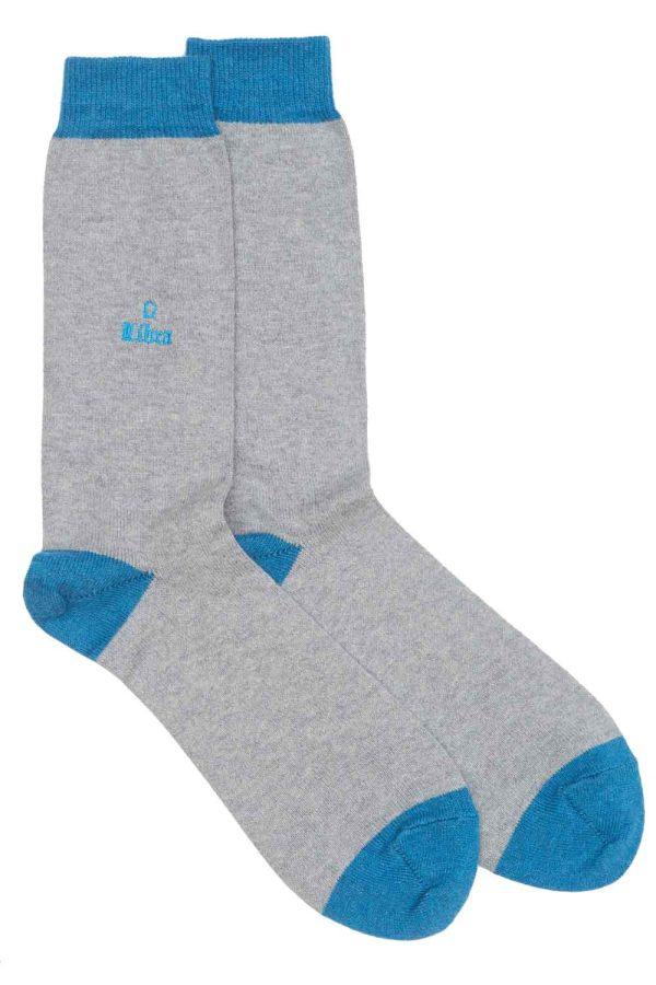 Zodiac Grey Cotton Socks Made in Britain Libra
