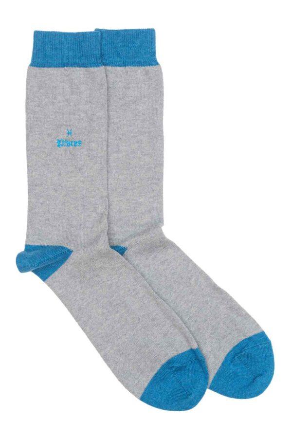 Zodiac Grey Cotton Socks Made in Britain Pisces