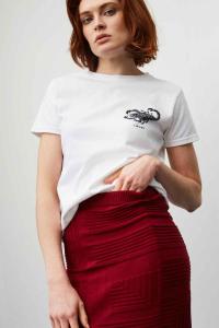 white tshirt with zodiac print