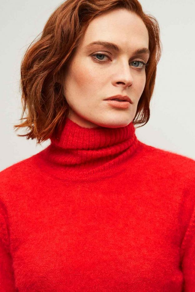 Merino Mohair Roll Neck Jumper Bright Red