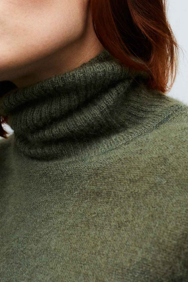 Merino Mohair Roll Neck Jumper Khaki Detail