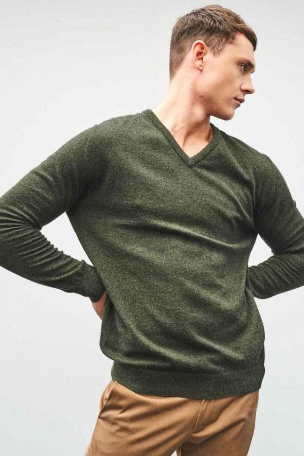 Mens cashmere v neck khaki sweater