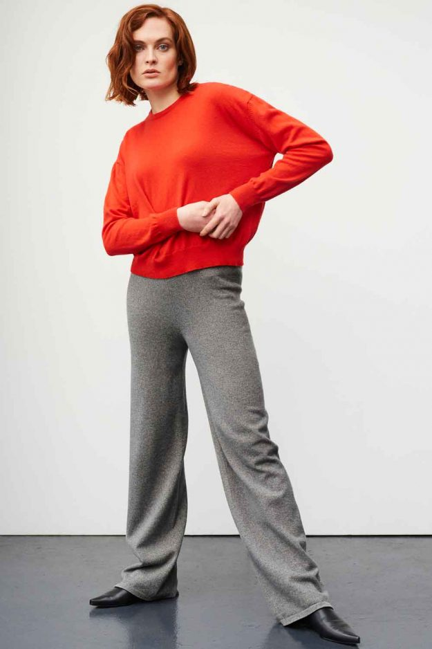 womens slouch cashmere sweater in orange