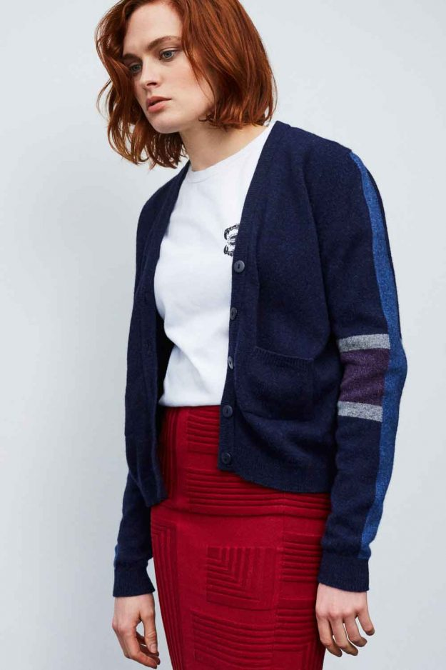 Womens lambswool cardigan with stripe sleeve