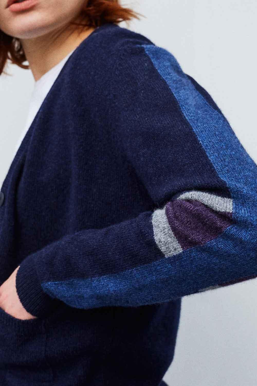 Womens lambswool cardigan with stripe sleeve Hand Intarsia